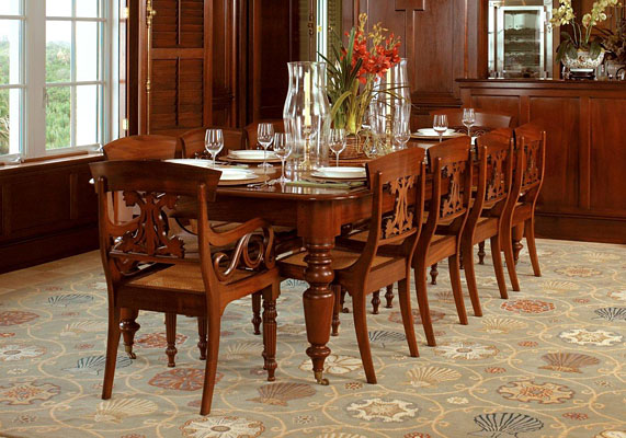 CARIBBEAN DINING TABLE AND CHAIRS MAHOGANY T191